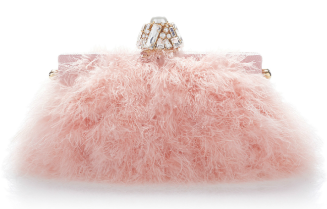 Pink Crystal Embellished Feather Clutch