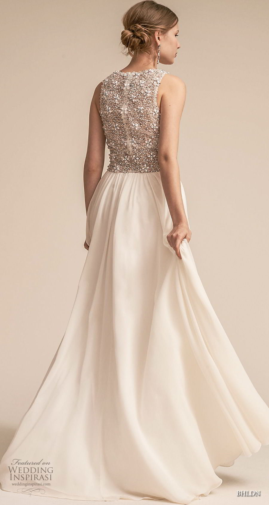 bhldn 2018 away bridal sleeveless deep v neck heavily embellished bodice romantic glamorous soft a line wedding dress covered back sweep train (5) bv