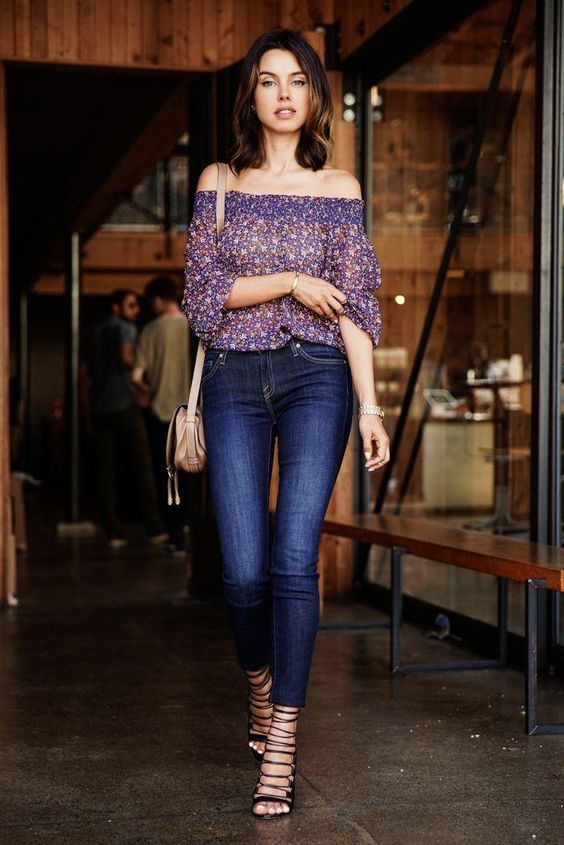 black strappy heels, cropped navy skinnies and a floral off the shoulder top