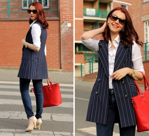 With white button down shirt, dark jeans, beige pumps and red tote