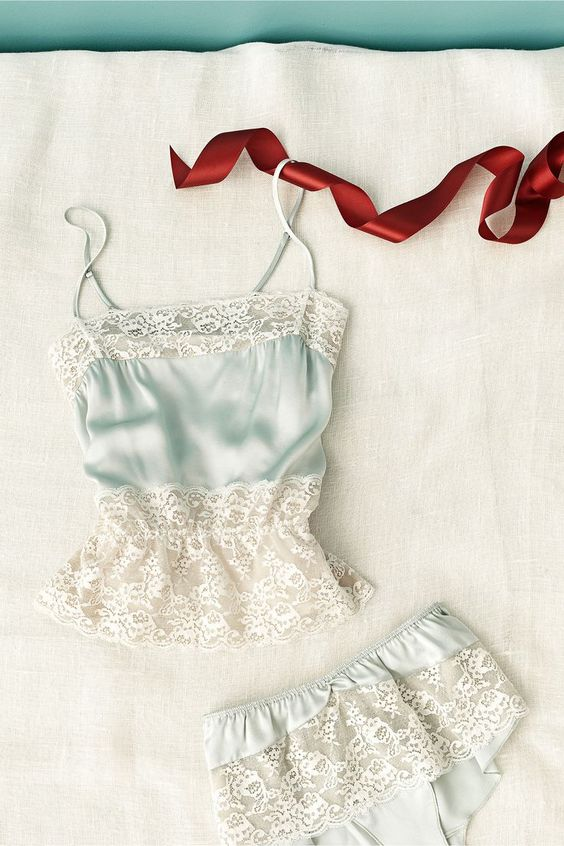 powder blue lingerie in vintage style with white lace and with spaghetti straps