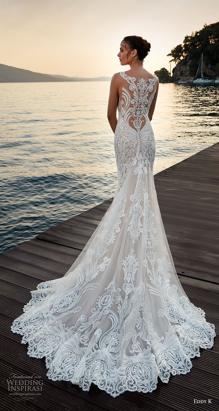 eddy k 2018 bridal sleeveless with strap v neck full embellishment elegant trumpet wedding dress sheer lace back chapel train (27) bv