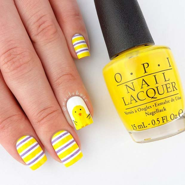 Vibrant-Easter-Chick-Nail-Art