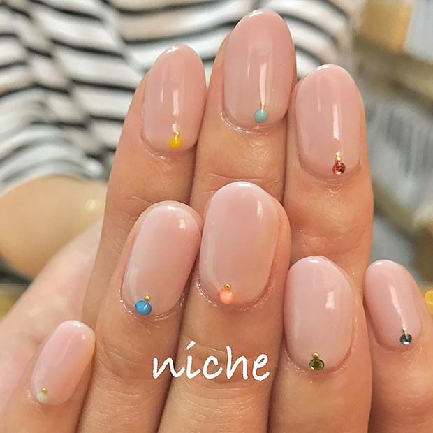 Colorful Gem Design for Simple Yet Eye-Catching Nail Designs