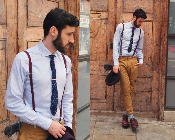 With classic button down shirt, brown pants, blue socks and marsala shoes
