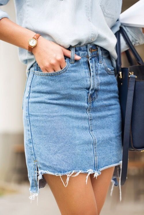 if you want a denim skirt, prefer a rough hem and a simple look