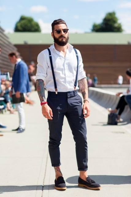 With white button down shirt, cuffed pants and suede shoes