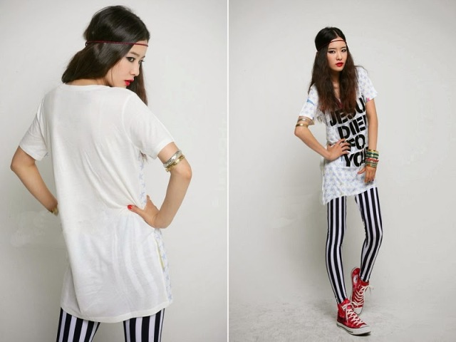 With long t-shirt, headband and red and white sneakers