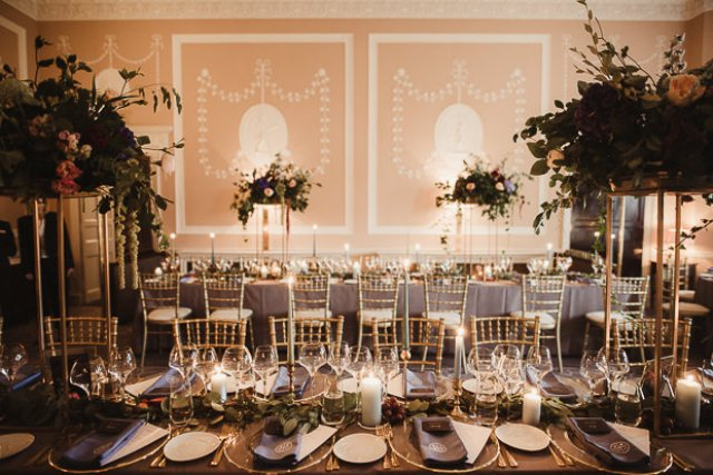 The wedding reception was stunning, with tall floral centerpieces