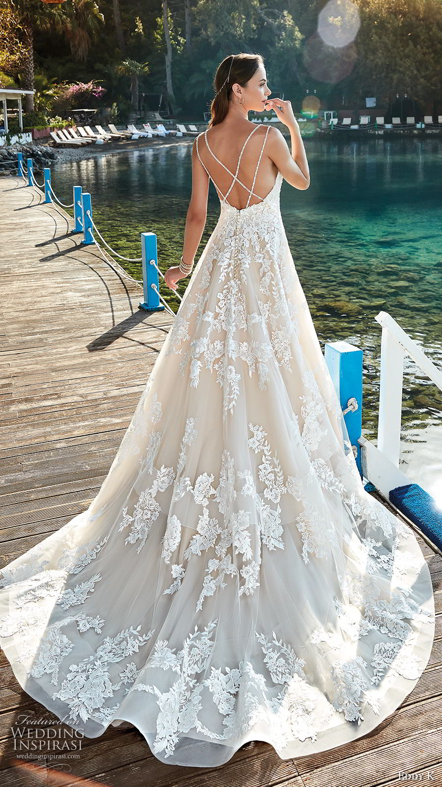eddy k 2018 bridal double strap sweetheart neckline full embellishment romantic a line wedding dress open back chapel train (16) bv