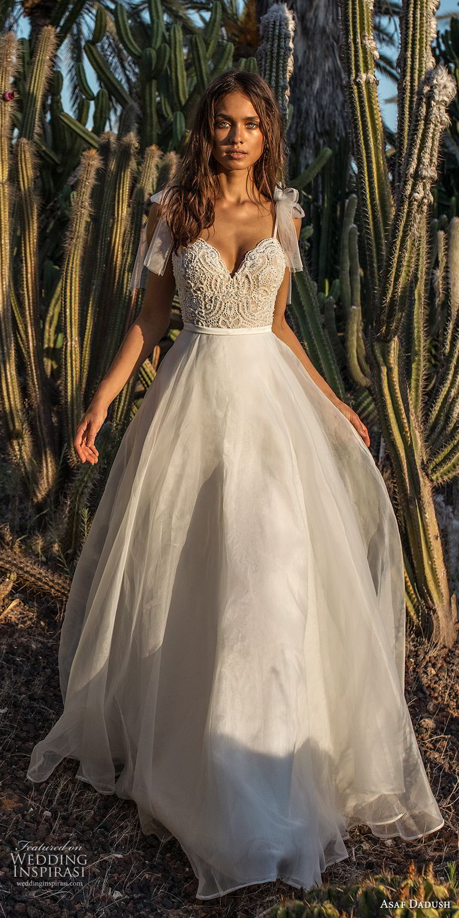 asaf dadush 2018 bridal spaghetti strap sweetheart neckline heavily embellished bodice romantic a line wedding dress open back sweep train (3) mv