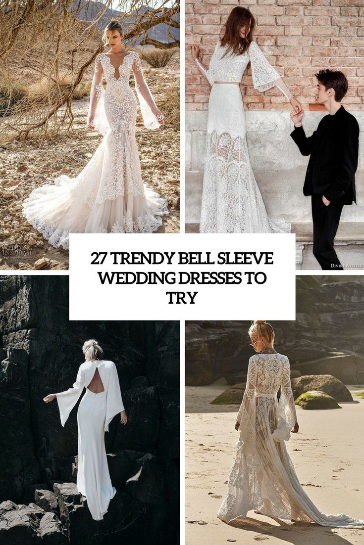 trendy bell sleeve wedding dresses to try cover