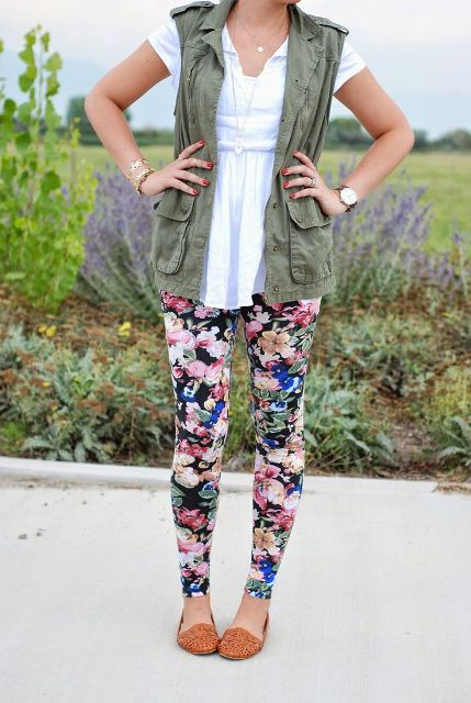 With white blouse, olive green vest and flats