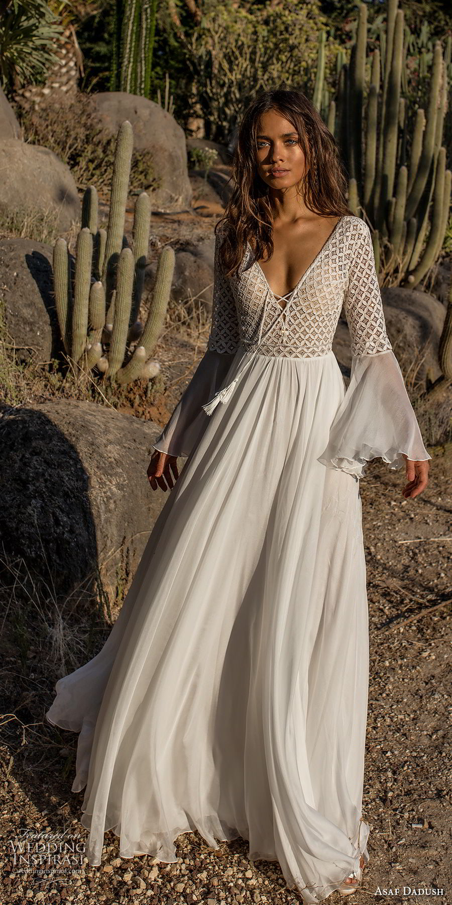 asaf dadush 2018 bridal long lantern sleeves deep v neckline heavily embellished bodice romantic bohemian soft a line wedding dress open back sweep train (2) mv
