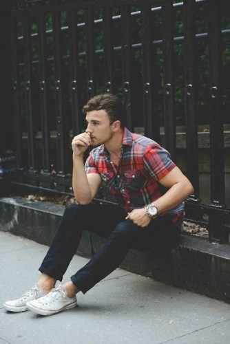 Collar-Shirts-and-Converse-Sneakers-334x500 28 Best Ideas on How to Wear Converse Shoes for Guys