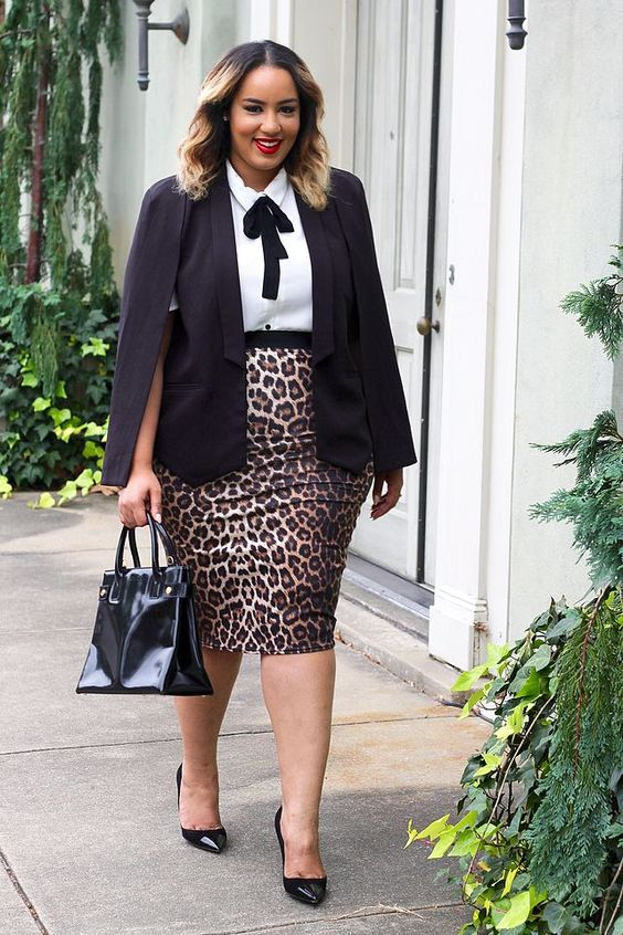a leopard print pencil skirt, a white blouse with a black bow, a black blazer and shoes