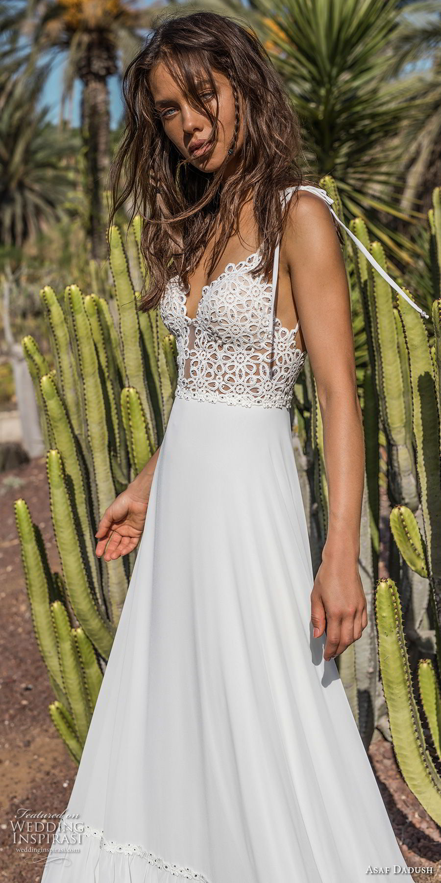 asaf dadush 2018 bridal sleeveless spaghetti strap deep plunging sweetheart neckline heavily embellished bodice bohemian a line wedding dress open back sweep train (8) zv