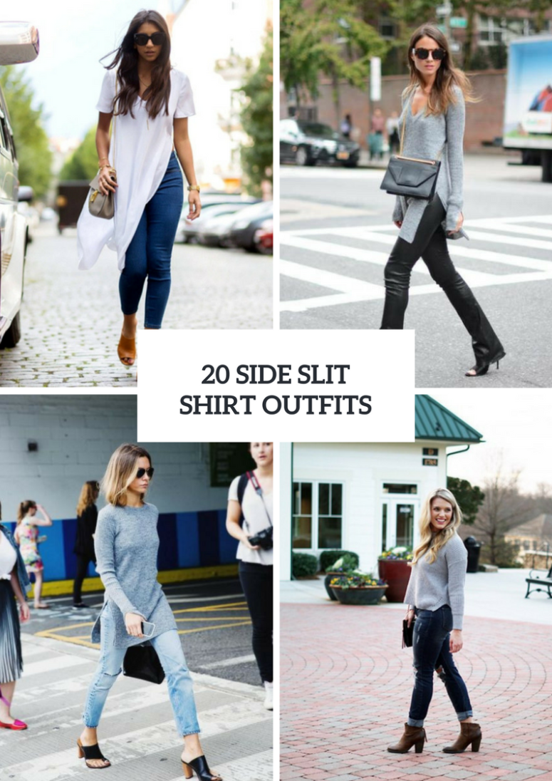 Outfits With Side Slit Shirts And Sweaters