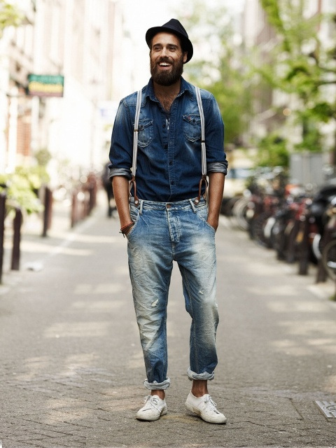 With denim shirt, hat and white sneakers