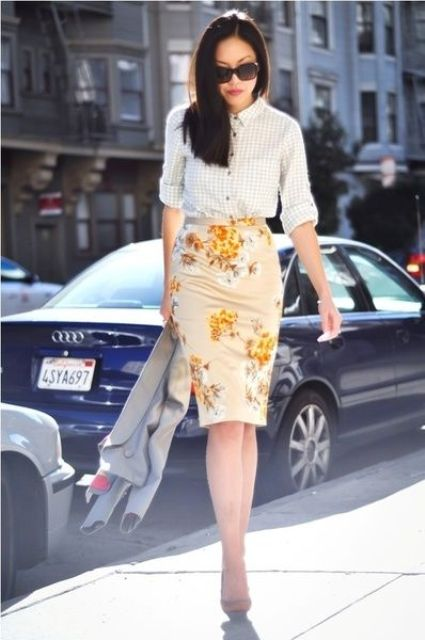 a floral pencil knee skirt, a gingham shirt, tan heels and a cropped grey jacket