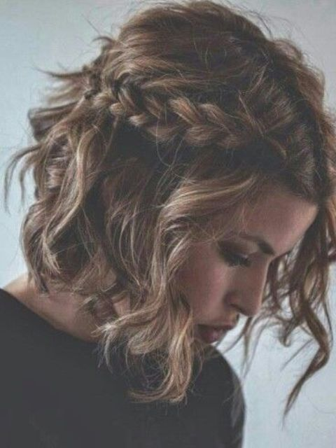 a messy curly braided half updo on short hair is a cute and fast to realize idea