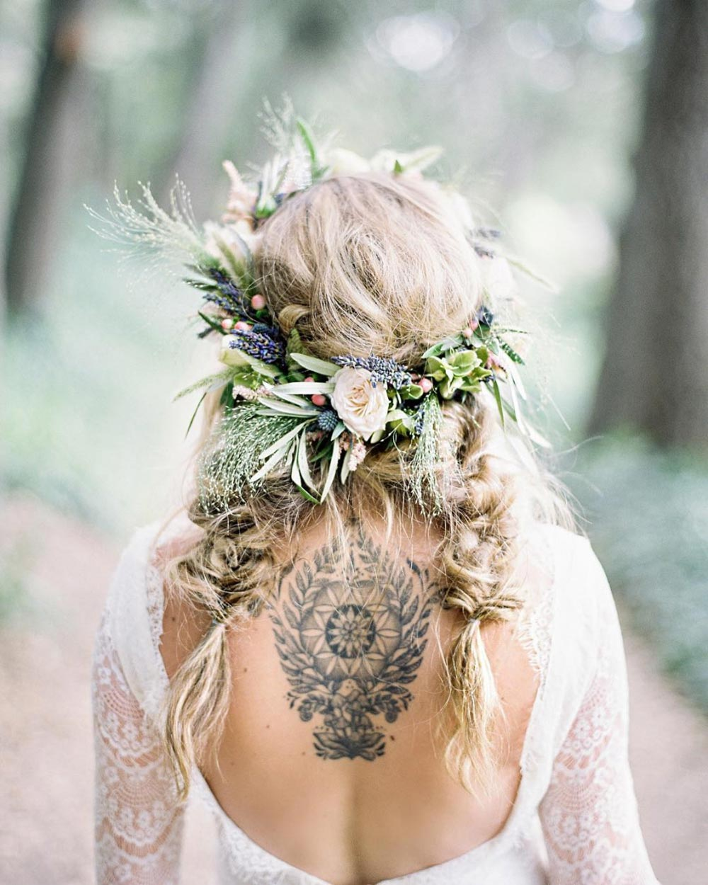 boho wedding hairstyle with braids