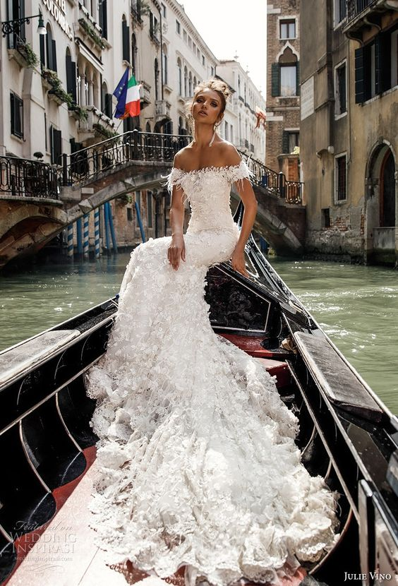 off the shoulder lace applique mermaid wedding dress with embellishments by Julie Vino