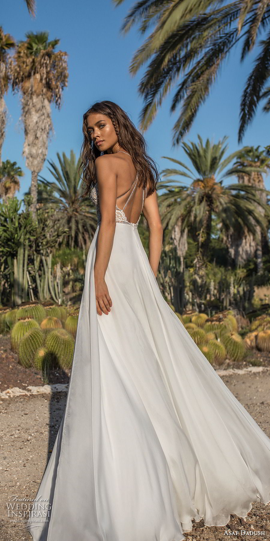 asaf dadush 2018 bridal spaghetti strap deep plunging sweetheart neckline heavily embellised bodice double slit slirt romantic soft a line wedding dress open strap back sweep train (10) bv