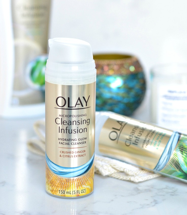 Olay cleansing infusion facial cleanser with crushed ginger