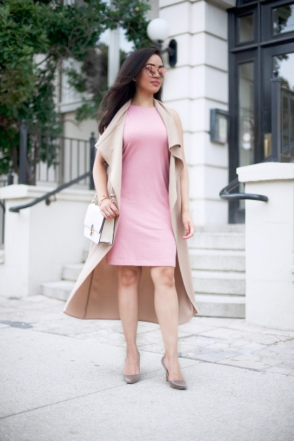 With pink dress, pastel colored pumps and white bag