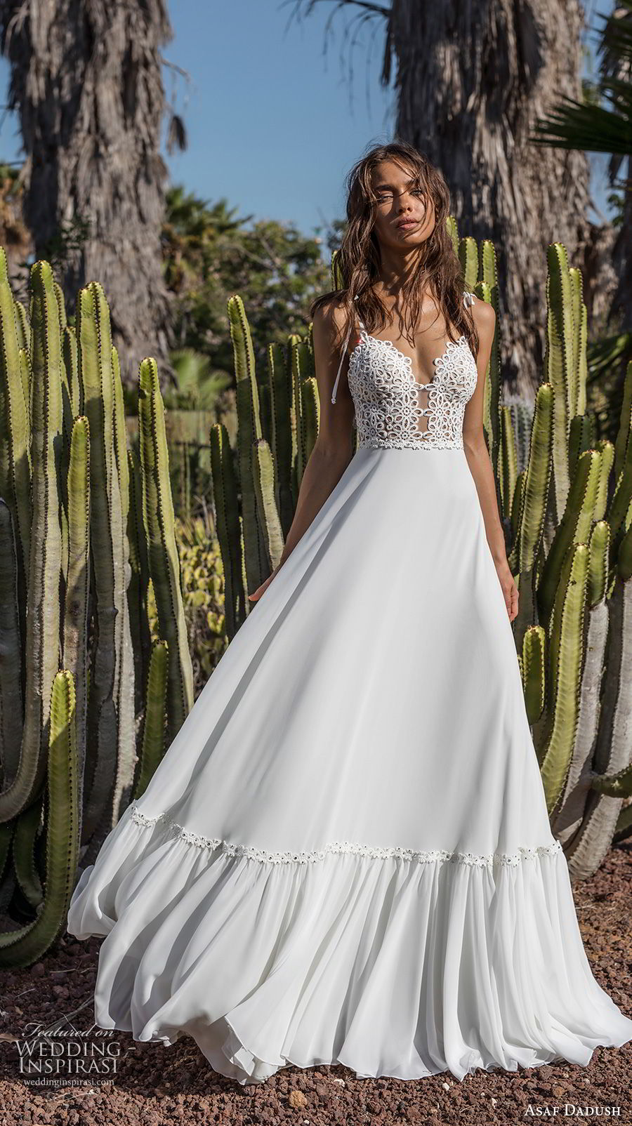 asaf dadush 2018 bridal sleeveless spaghetti strap deep plunging sweetheart neckline heavily embellished bodice bohemian a line wedding dress open back sweep train (8) mv