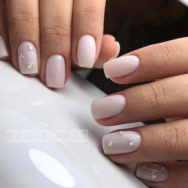 Light Nails with Gems for Simple Yet Eye-Catching Nail Designs - 23 Simple Yet Eye-Catching Nail Designs Beauty