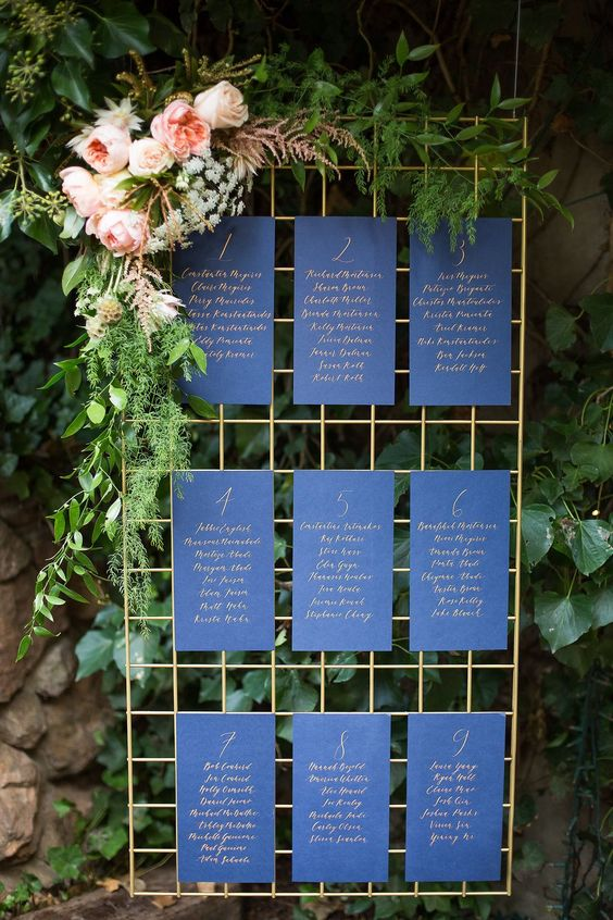a navy seating chart with gold calligraphy and lush blooms
