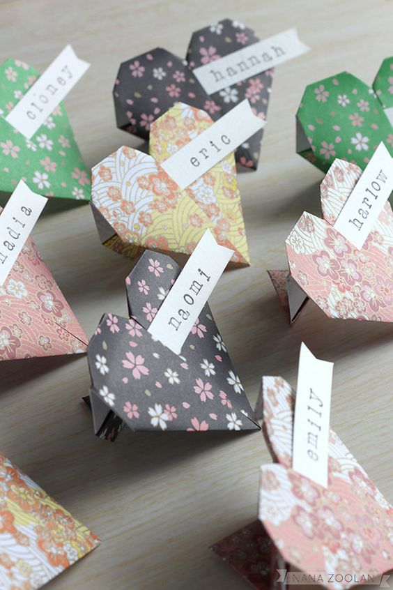 colorful origami heart place cards will be a fun addition to any space
