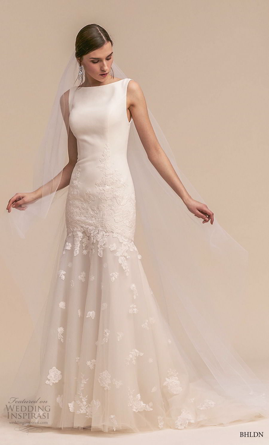 bhldn 2018 whispers bridal sleeveless bateau neck simple clean embellished skirt trumpet wedding dress keyhole back short train (4) mv