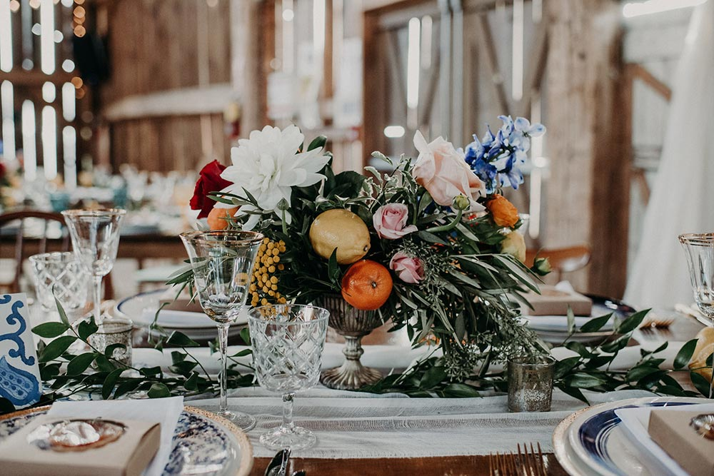 colorful boho wedding centerpiece