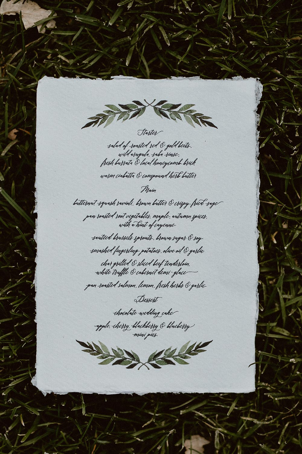winter vineyard wedding menu
