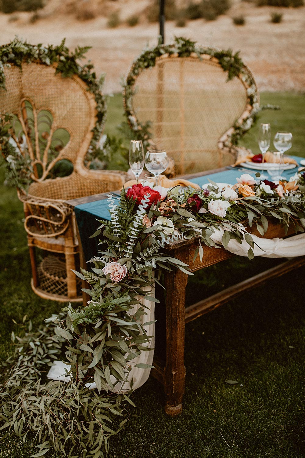 rattan chairs boho sweetheart table