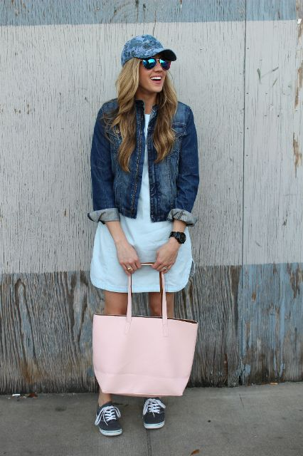 With light blue dress, denim jacket, pale pink tote and sneakers