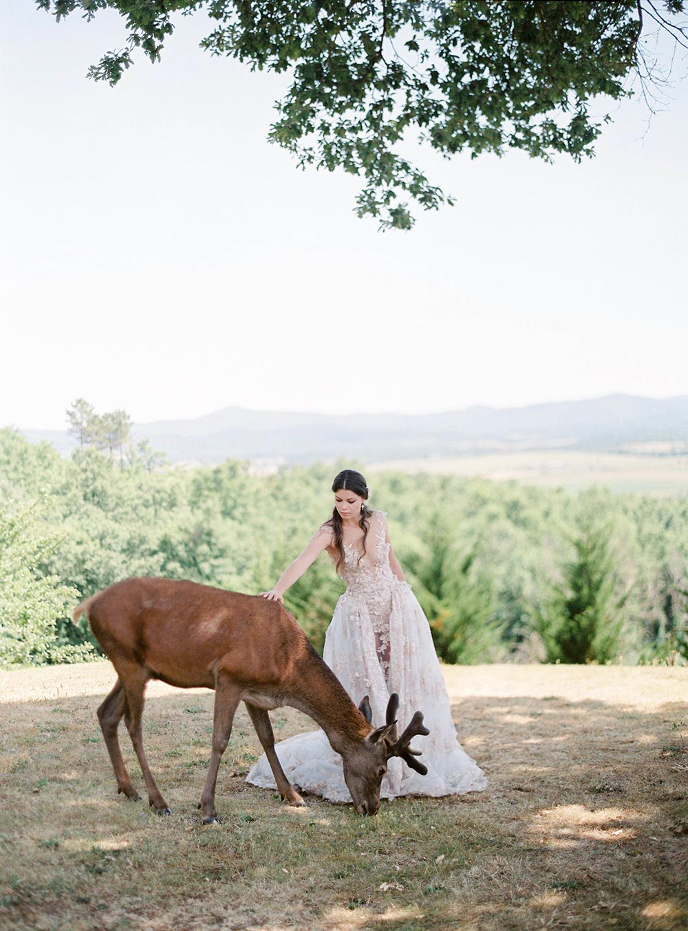 embellished wedding dress inspiration deer in countryside