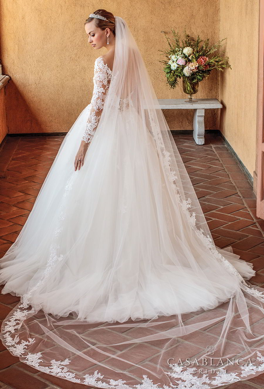casablanca spring 2018 long sleeves scoop neckline heavily embellished bodice romantic ball gown a line wedding dress open scoop back chapel train (elsie) bv