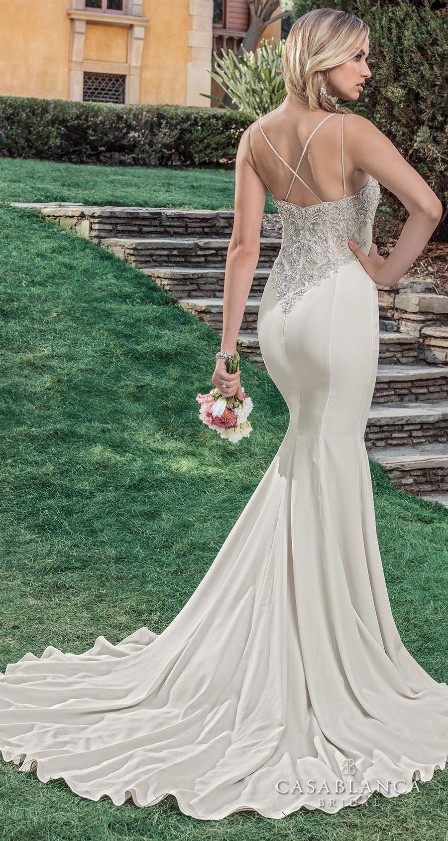 casablanca spring 2018 sleeveless strap deep v neck heavily embellished bodice elegant mermaid wedding dress strap back sweep train (lana) bv
