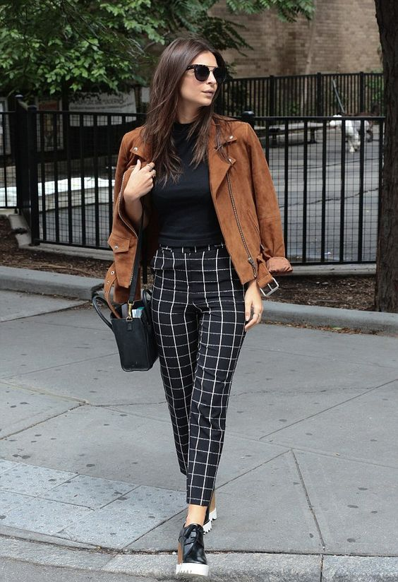 windowpane pants, a black top, black slipons and a brown suede jacket