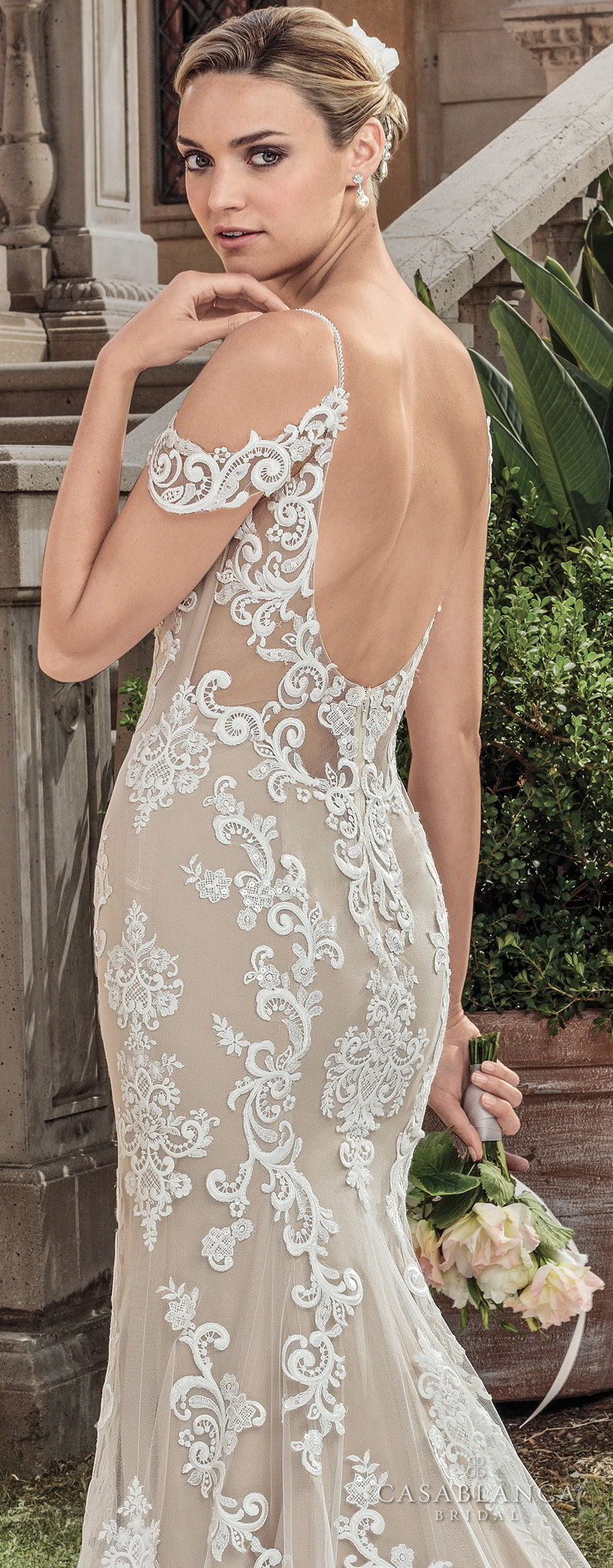 casablanca spring 2018 spaghetti strap cold shoulder full embellishment elegant fit and flare sheath wedding dress open scoop back chapel train (zola) zbv