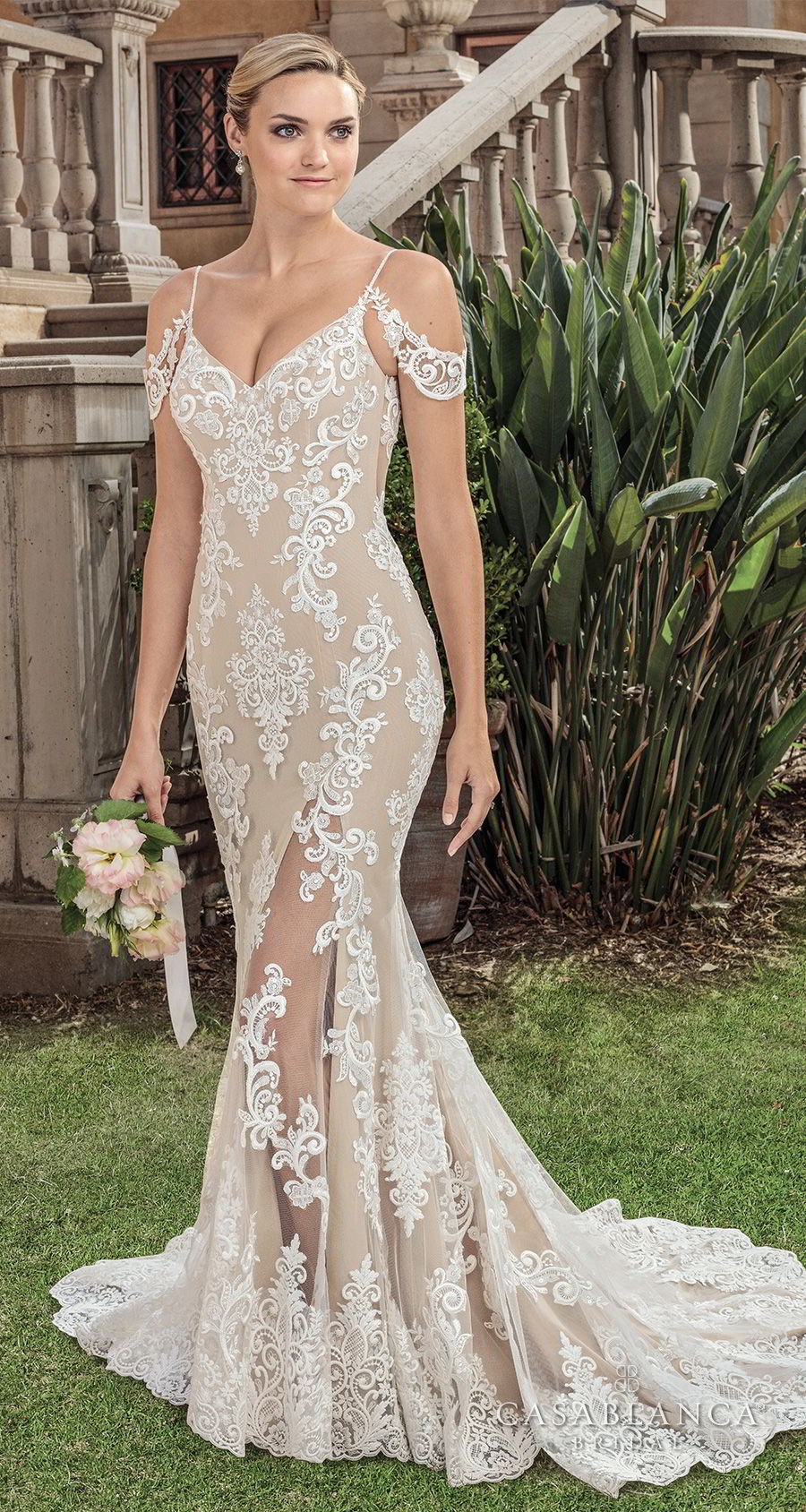 casablanca spring 2018 spaghetti strap cold shoulder full embellishment elegant fit and flare sheath wedding dress open scoop back chapel train (zola) mv