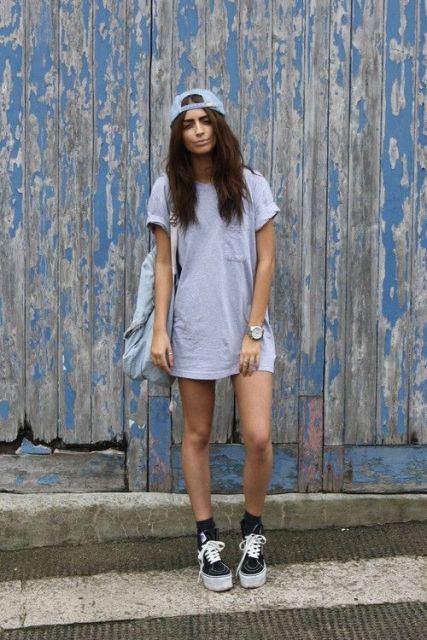 With shirtdress, platform shoes and backpack