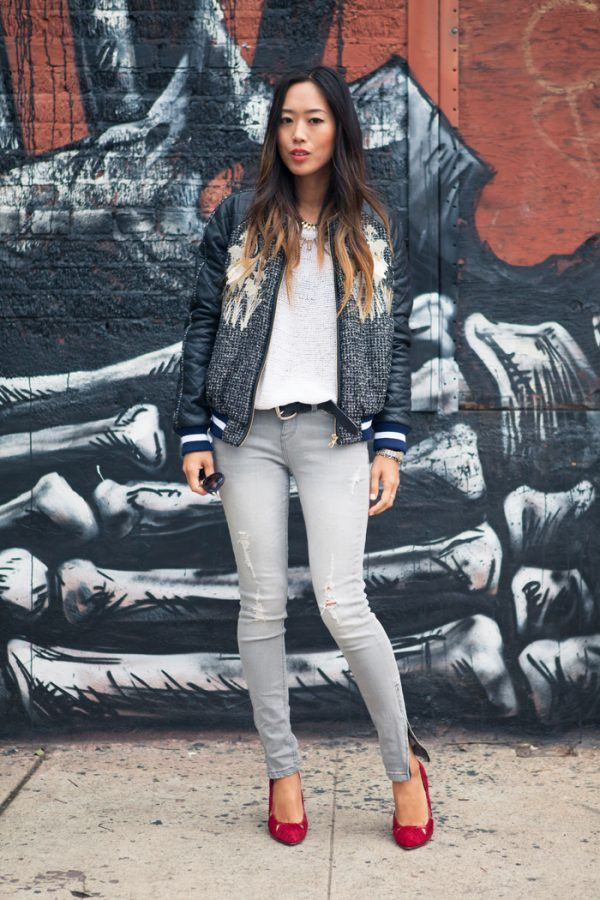 Leather-Bomber-Jacket2-600x900 21 Best Leather Bomber Jacket Outfits for Women