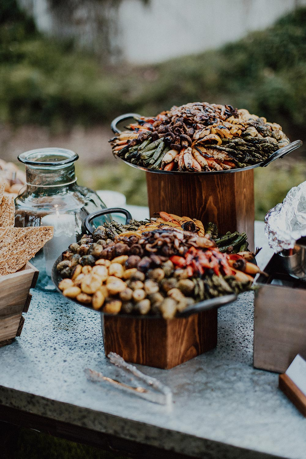 whimsical garden wedding reception food