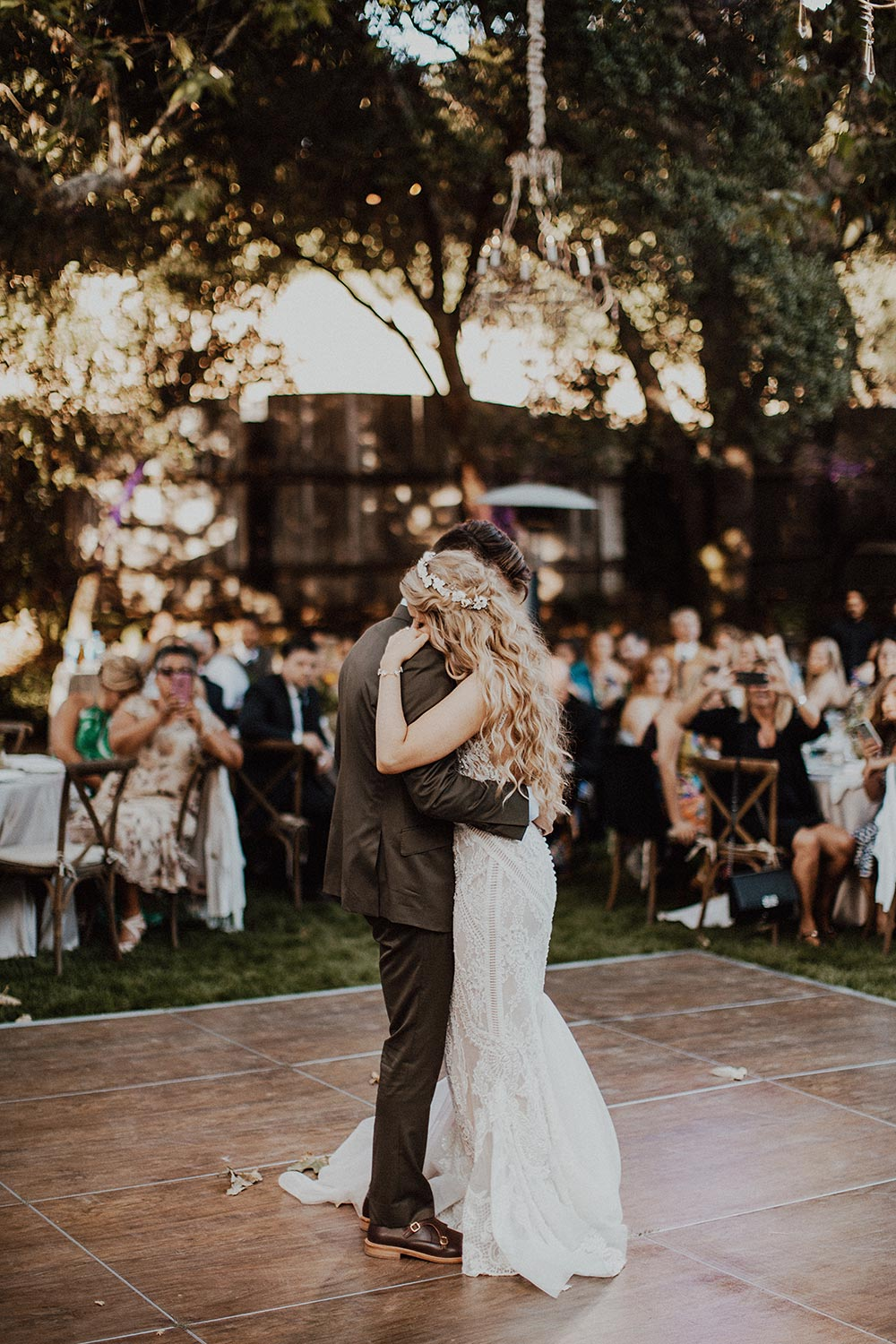 whimsical garden wedding reception first dance