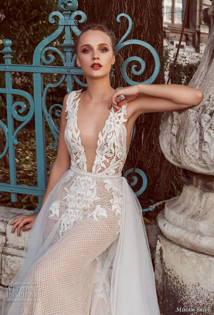 miriams bride 2018 bridal sleeveless deep v neck heavily embellished bodice romantic a line wedding dress open back (10) zv